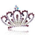 Alloy Crown Bride Hair Accessories Crystal Rhinestone Hair Pin Clip Combs - Purple