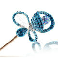 Bling Rhinestone Crystal Flower Hairpin Hair Clasp Clip Fork Stick - Blue