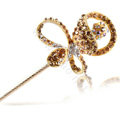 Bling Rhinestone Crystal Flower Hairpin Hair Clasp Clip Fork Stick - Champagne