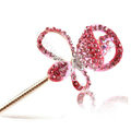 Bling Rhinestone Crystal Flower Hairpin Hair Clasp Clip Fork Stick - Pink