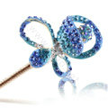Bling Rhinestone Crystal Flower Hairpin Hair Clasp Clip Fork Stick - Sky blue