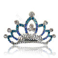 Bride Hair Accessories Crystal Rhinestone Alloy Crown Hair Pin Clip Combs - Blue