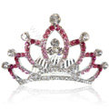 Bride Hair Accessories Crystal Rhinestone Alloy Crown Hair Pin Clip Combs - Pink