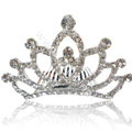 Bride Hair Accessories Crystal Rhinestone Alloy Crown Hair Pin Clip Combs - White
