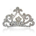 Bride Hair Accessories Crystal Rhinestone Crown Alloy Hair Pin Clip Combs - White