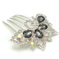 Bride Hair Accessories Crystal Rhinestone Flower Alloy Hair Clip Combs - Black