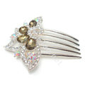 Bride Hair Accessories Crystal Rhinestone Flower Alloy Hair Clip Combs - Champagne
