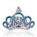 Bride Hair Accessories Rhinestone Crystal Alloy Crown Hair Pin Clip Combs - Blue