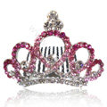 Bride Hair Accessories Rhinestone Crystal Alloy Crown Hair Pin Clip Combs - Pink
