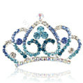 Crown Alloy Bride Hair Accessories Crystal Rhinestone Hair Pin Clip Combs - Blue