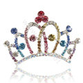 Crown Alloy Bride Hair Accessories Rhinestone Crystal Hair Pin Clip Combs - Multicolor