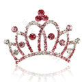 Crown Alloy Bride Hair Accessories Rhinestone Crystal Hair Pin Clip Combs - Pink
