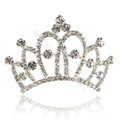 Crown Alloy Bride Hair Accessories Rhinestone Crystal Hair Pin Clip Combs - White