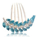 Elegant Hair Accessories Alloy Crystal Rhinestone Leaf Hair Combs Clip - Blue