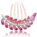 Elegant Hair Accessories Alloy Crystal Rhinestone Leaf Hair Combs Clip - Pink
