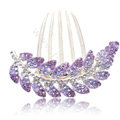 Elegant Hair Accessories Alloy Crystal Rhinestone Leaf Hair Combs Clip - Purple
