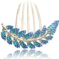 Elegant Hair Accessories Alloy Crystal Rhinestone Leaf Hair Combs Clip - Sky Blue