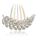 Elegant Hair Accessories Alloy Crystal Rhinestone Leaf Hair Combs Clip - White