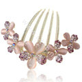 Elegant Hair Accessories Alloy Rhinestone Crystal Flower Hair Combs Clip - Purple