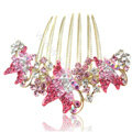 Elegant Hair Accessories Rhinestone Crystal Butterfly Alloy Hair Combs Clip - Pink