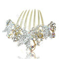 Elegant Hair Accessories Rhinestone Crystal Butterfly Alloy Hair Combs Clip - White