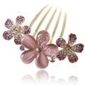 Elegant Hair Accessories Rhinestone Crystal Flower Alloy Hair Combs Clip - Purple