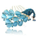 Elegant Hair Accessories Rhinestone Crystal Peacock Alloy Hair Combs Clip - Blue