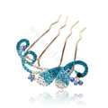 Hair Accessories Alloy Crystal Rhinestone Butterfly Hair Pin Clip Fork Combs - Blue