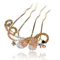 Hair Accessories Alloy Crystal Rhinestone Butterfly Hair Pin Clip Fork Combs - Champagne