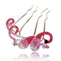 Hair Accessories Alloy Crystal Rhinestone Butterfly Hair Pin Clip Fork Combs - Pink