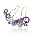 Hair Accessories Alloy Crystal Rhinestone Butterfly Hair Pin Clip Fork Combs - Purple