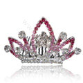 Hair Accessories Alloy Crystal Rhinestone Crown Hair Pin Clip Combs - Pink