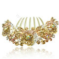 Hair Accessories Alloy Crystal Rhinestone Flower Bride Hair Combs Clip - Champagne