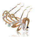 Hair Accessories Alloy Crystal Rhinestone Peacock Hair Pin Clip Fork Combs - Champagne