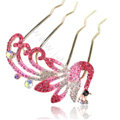 Hair Accessories Alloy Crystal Rhinestone Peacock Hair Pin Clip Fork Combs - Pink