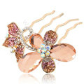 Hair Accessories Alloy Rhinestone Crystal Butterfly Hair Pin Clip Fork Combs - Champagne