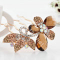 Hair Accessories Alloy Rhinestone Crystal Butterfly Hair Pin Clip Fork Combs - Coffee