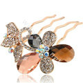Hair Accessories Alloy Rhinestone Crystal Butterfly Hair Pin Clip Fork Combs - Multicolor