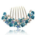 Hair Accessories Alloy Rhinestone Crystal Flower Bride Hair Combs Clip - Blue