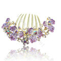 Hair Accessories Alloy Rhinestone Crystal Flower Bride Hair Combs Clip - Purple