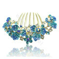 Hair Accessories Alloy Rhinestone Crystal Flower Bride Hair Combs Clip - Sky Blue