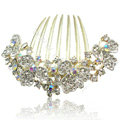 Hair Accessories Alloy Rhinestone Crystal Flower Bride Hair Combs Clip - White