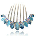 Hair Accessories Alloy Rhinestone Crystal Flower Elegant Hair Combs Clip - Blue