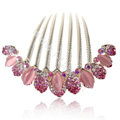 Hair Accessories Alloy Rhinestone Crystal Flower Elegant Hair Combs Clip - Pink