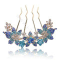 Hair Accessories Alloy Rhinestone Crystal Flower Hair Pin Clip Fork Combs - Blue