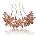 Hair Accessories Alloy Rhinestone Crystal Flower Hair Pin Clip Fork Combs - Champagne