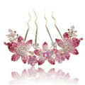 Hair Accessories Alloy Rhinestone Crystal Flower Hair Pin Clip Fork Combs - Pink