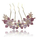 Hair Accessories Alloy Rhinestone Crystal Flower Hair Pin Clip Fork Combs - Purple
