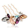 Hair Accessories Crystal Rhinestone Alloy Butterfly Hair Pin Clip Fork Combs - Multicolor