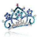 Hair Accessories Crystal Rhinestone Alloy Crown Bride Hair Pin Clip Combs - Blue